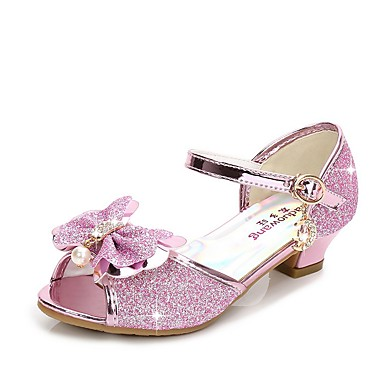 저렴한 아동 샌달-여아 플라워 걸 신발 Synthetics 샌들 어린 아이들 (4-7ys) 크리스탈 슬리버 / 블루 / 핑크 여름