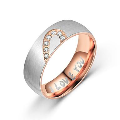 levne Pánské šperky-Pánské Dámské Snubní prsteny Band Ring Prsten 1ks Černá Růžové zlato Titanová ocel Kulatý Vintage Základní Módní Dar Denní Šperky Miláček Srdce Heart / Tail Ring