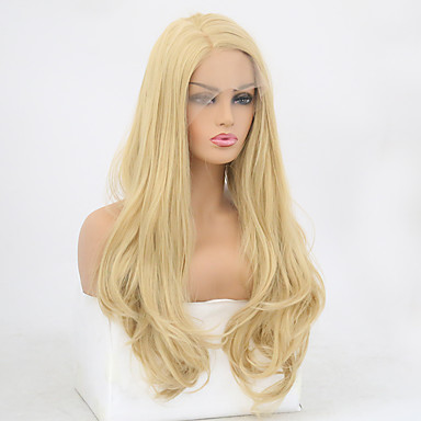 cheap Synthetic Lace Wigs-Synthetic Lace Front Wig Wavy Natural Wave Free Part Lace Front Wig Blonde Long Blonde Synthetic Hair 8-12 inch Women's Soft Elastic Women Blonde / Glueless