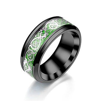 levne Pánské šperky-Pánské Dámské Band Ring Prsten Tail Ring 1ks Zelená Tmavě červená Světle zelená Nerez Kulatý Vintage Základní Módní Denní Šperky