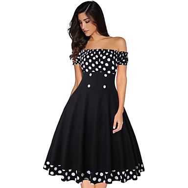 Inspiração Vintage Hepburn Vestidos Mulheres Elastano Ocasiões Especiais Preto Vintage Cosplay