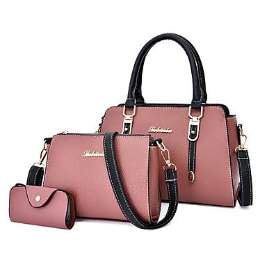 preiswerte Taschen-Damen Reißverschluss PU Bag Set Volltonfarbe 3 Stück Geldbörse Set Schwarz / Braun / Rosa