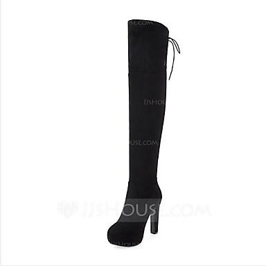 ieftine Ghete de Damă-Pentru femei Cizme Pantofi pentru genunchi Piele nubuc Cizme Până la Genuchi Confortabili / Cizme la Modă Toamnă / Iarnă Negru / Rosu / Gri / EU42