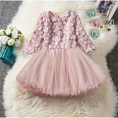 cheap Party Dresses-Kids Girls' Solid Colored Knee-length Dress Blushing Pink