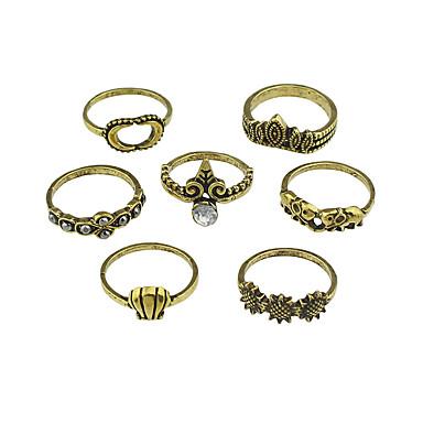 billige Motering-Dame Ring Set 7pcs Gull Sølv Legering Stilfull Unikt design Mote Gave Daglig Smykker geometriske Elefant Sol MOON Kul