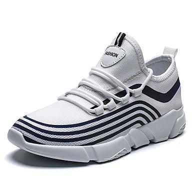 Homens Sapatos Confortáveis Couro Ecológico Verão Tênis Caminhada Preto / Branco