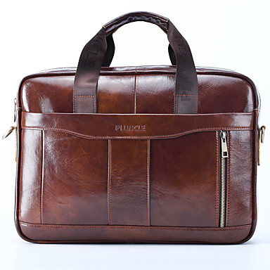 cheap Briefcases-Men's Zipper Nappa Leather / Cowhide Briefcase Solid Color Black / Brown / Fall & Winter