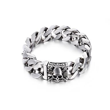 levne Pánské šperky-Pánské Dámské Náramek Link / řetězec hlava Evropský Titanová ocel Náramek šperky Stříbrná Pro Dar Denní Karneval Street Klub