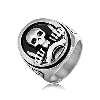 billige Motering-Herre Band Ring Ring 1pc Gull Sølv Titanium Stål Sirkelformet Vintage Grunnleggende Mote Daglig Smykker Hodeskalle Kul