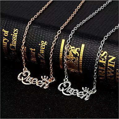levne Dámské šperky-Dámské Stříbrná Zlatá Diamant Řetízky Link / řetězec Alphabet Shape Jednoduchý Módní Elegantní Štras Náušnice Šperky Zlatá / Stříbrná Pro Denní 1ks