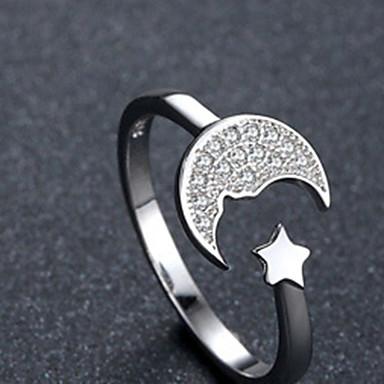 billige Motering-Dame Ring Åpne Ring 1pc Hvit Kobber Sirkelformet Grunnleggende Koreansk Mote Festival Smykker Stjerne Smuk
