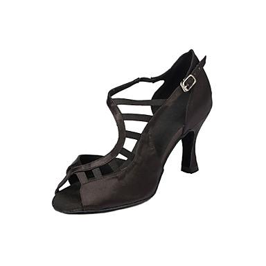 Mulheres Sapatos de Dança Cetim Sapatos de Dança Latina Recortes Salto Salto Carretel Personalizável Preto / Espetáculo
