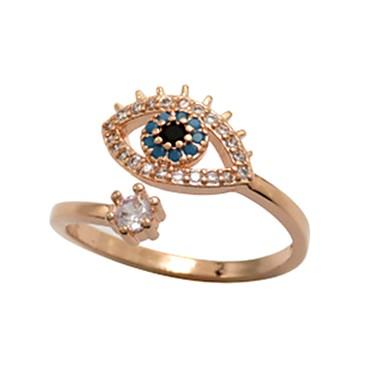 billige Motering-Dame Ring 1pc Rose Gull Kobber Sirkelformet Grunnleggende Koreansk Mote Festival Smykker Ondt øye Kul