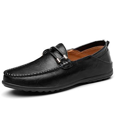 Homens Sapatos de Condução Pele Primavera Casual Mocassins e Slip-Ons Respirável Preto / Amarelo / Marron