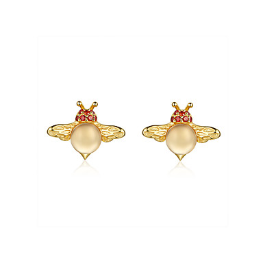 levne Dámské šperky-Dámské Vícebarevná Kubický zirkon Peckové náušnice 3D Včela Hippocampus Monster Luxus Animák Evropský Moderní Módní S925 Sterling Silver Náušnice Šperky Zlatá Pro Vánoce 1 Pair