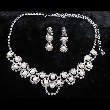 voordelige Dames Sieraden-Dames Oorknopjes Ketting Stijlvol Imitatieparel oorbellen Sieraden Zilver Voor Bruiloft Feest 1 set