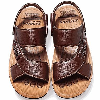 preiswerte Herren Sandalen-Herrn Komfort Schuhe Sommer Freizeit Alltag Sandalen Walking Leder Atmungsaktiv Schwarz / Gelb / Braun / Niete