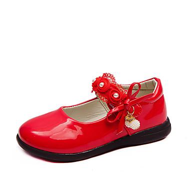preiswerte Kids' Flats-Mädchen Schuhe für das Blumenmädchen PU Flache Schuhe Kleine Kinder (4-7 Jahre) / Große Kinder (ab 7 Jahren) Schwarz / Rot / Rosa Frühling / Herbst