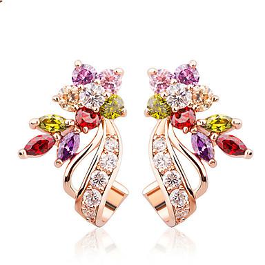 levne Dámské šperky-zlaté náušnice zlaté barvy s květinovým tvarem bílá / vícebarevná aaa zirkon pro ženy trendové šperky 2,3cm * dlouhé a 1,3 cm široké 1,0 cm jediný květ