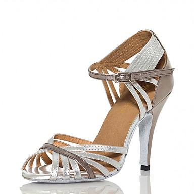 Mulheres Sapatos de Dança Couro Ecológico Sapatos de Dança Latina Recortes Salto Salto Alto Magro Personalizável Prata / Espetáculo