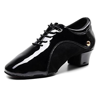 Homens Sapatos de Dança Pele Napa Sapatos de Jazz Oxford / Têni Salto Grosso Personalizável Preto / Espetáculo / Ensaio / Prática
