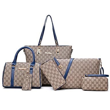 preiswerte Taschensets-Damen / Mädchen Reißverschluss / Kette PU Bag Set Geometrische Muster 6 Stück Geldbörse Set Schwarz / Blau / Rote