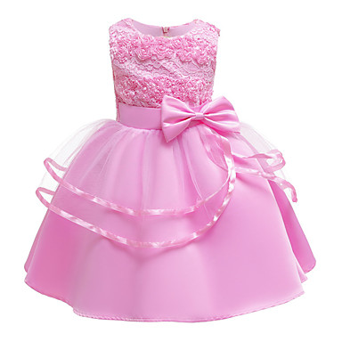 cheap Baby & Kids-Kids Toddler Girls' Basic Cute Solid Colored Floral Bow Patchwork Sleeveless Knee-length Dress Blushing Pink