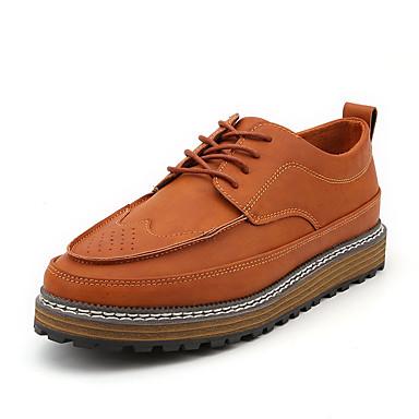 Homens Sapatos Confortáveis Couro Ecológico Verão Oxfords Preto / Marron / Cinzento / Ao ar livre