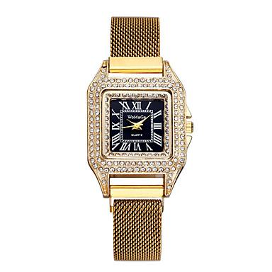 저렴한 정사각형 및 직사각형 시계-여성용 석영 우아함 새로운 도착 블랙 블루 골드 스테인레스 스틸 중국어 석영 블랙 푸른 퍼플 크로노그래프 귀여운 모조 다이아몬드 1개 아날로그 1 년 배터리 수명