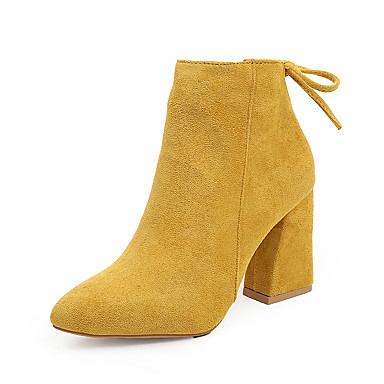 cheap Women's Boots-Women's Boots Fall & Winter Chunky Heel Pointed Toe Daily Microfiber Booties / Ankle Boots Black / Yellow / Red