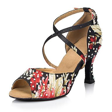 Mulheres Sapatos de Dança Cetim Sapatos de Dança Latina Pedrarias / Cristal / Strass Salto Salto Carretel Personalizável Preto / Vermelho / Espetáculo
