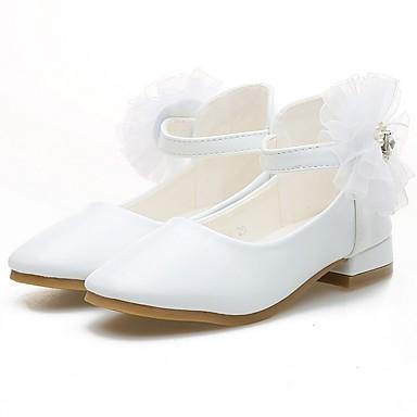 preiswerte Schuhe für Kinder-Mädchen Schuhe für das Blumenmädchen PU High Heels Kleine Kinder (4-7 Jahre) Weiß / Rosa Herbst