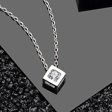 Hot-selling elegante cristal cz cubo projeto jóias de prata pura 925 pingente de colar de pingente de tamanho cerca de 8,3 mm * 8,3 mm comprimento da cadeia de cerca de 43 cm (incluindo 3 cm de