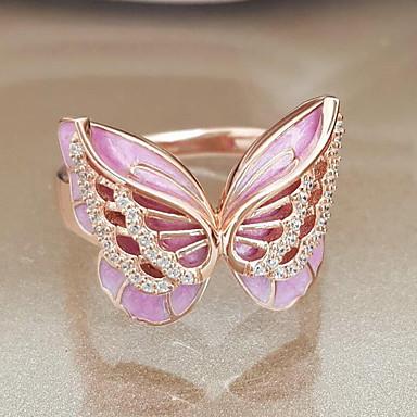 billige Motering-Dame Ring 1pc Rose Gull Legering Annerledes Koreansk Mote søt stil Daglig Smykker Klassisk Sommerfugl