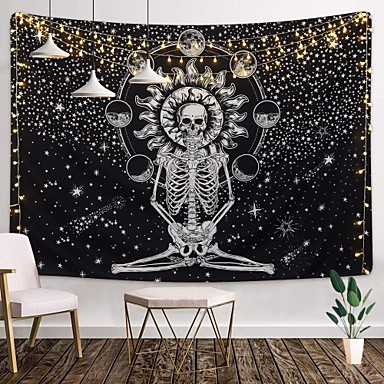 cheap Wall Tapestries-Wall Tapestry Art Decor Blanket Curtain Picnic Tablecloth Hanging Home Bedroom Living Room Dorm Decoration Tarot Halloween Skull Meditation Skeleton Chakra Starry Black White Star