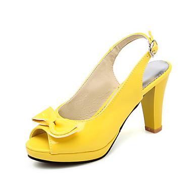levne Dámské sandály-Dámské Sandály Vysoký úzký S otevřeným palcem Mašle / Přezky PU Léto Černá / Bílá / Fuchsiová / Svatební