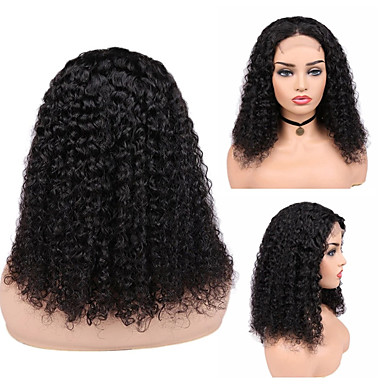 cheap Beauty & Hair-Remy Human Hair Full Lace Lace Front Wig Bob style Brazilian Hair Afro Curly Black Wig 130% 150% 180% Density Fashionable Design Easy to Carry Women Adorable Comfortable Women's Short Human Hair Lace