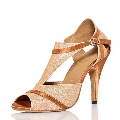 Mulheres Sapatos de Dança Sintéticos Sapatos de Dança Latina Recortes Salto Salto Alto Magro Personalizável Dourado / Espetáculo