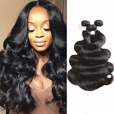 3 pacotes Cabelo Brasileiro Onda de Corpo Cabelo Virgem 100% Remy Hair Weave Bundles Acessórios Para Peruca Peça para Cabeça Cabelo Humano Ondulado 8-28 polegada Côr Natural Tramas de cabelo humano