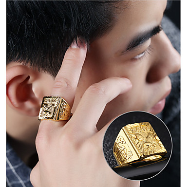 voordelige Herensieraden-Heren Zegelring 1pc Goud 18K Goud Geometrische vorm Aziatisch Modieus Hip Hop Dagelijks Avond Feest Sieraden Stijlvol Gegraveerd Eagle familiewapen Cool