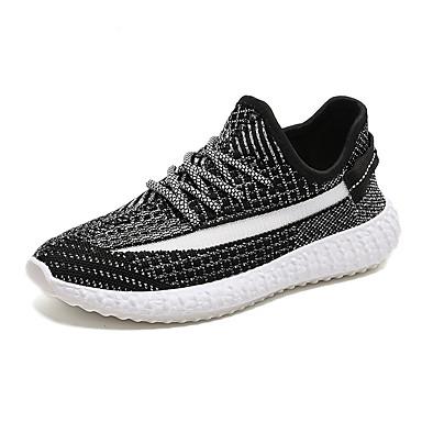 Homens Sapatos Confortáveis Tissage Volant Primavera Verão Casual Tênis Corrida Respirável Preto / Cinzento Escuro / Branco