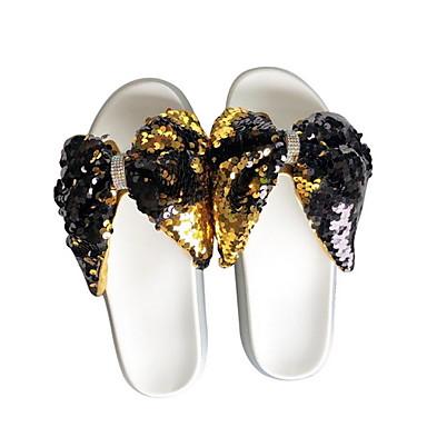 voordelige Damespantoffels & slippers-Dames Slippers & Flip-Flops Platte hak Ronde Teen Strik PU Zomer Goud