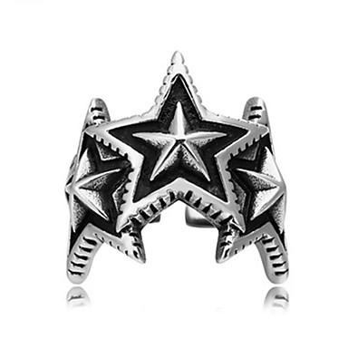 billige Motering-Herre Band Ring Ring 1pc Sølv Titanium Stål Sirkelformet Vintage Grunnleggende Mote Daglig Smykker Stjerne Kul