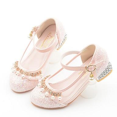 preiswerte Schuhe für Kinder-Mädchen Schuhe für das Blumenmädchen Mikrofaser High Heels Kleine Kinder (4-7 Jahre) Perle Gelb / Blau / Rosa Herbst