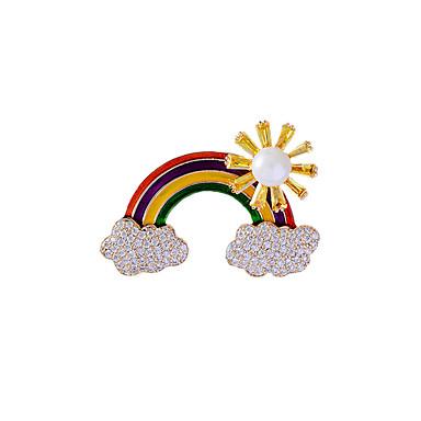 Mulheres Broches Chique Arco-Íris Luxo Na moda Elegante Colorido Pérola Chapeado Dourado Imitações de Diamante Broche Jóias Arco-Íris Para Casamento Noivado Presente Trabalho Promessa