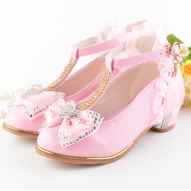 preiswerte Schuhe für Kinder-Mädchen Schuhe für das Blumenmädchen PU High Heels Kleine Kinder (4-7 Jahre) Schleife Weiß / Rosa Sommer