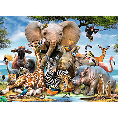 cheap Games & Puzzles-1000 pcs Animal Series Elephant Jigsaw Puzzle Decompression Toys Adult Puzzle Jumbo Wooden Cartoon Kid's Adults' Toy Gift