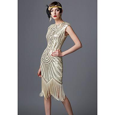 The Great Gatsby Τσάρλεστον 1920s Δροσμός 20ετών Φορέματα Γυναικεία Πούλιες Στολές Μαύρο / Μαύρο / Κόκκινο / Χρυσαφί+Μαύρο Πεπαλαιωμένο Cosplay Πάρτι Καλωσόρισμα Χοροεσπερίδα Μακρυμάνικο