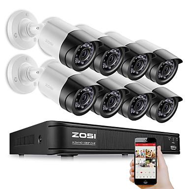 povoljno Zaštita i sigurnost-zosi 8ch 1080p sigurnosni video dvr kit 2mp kamera cctv nadzorni sustav noćno gledanje vodootporan HDD tvrdi disk 2tb otkrivanje pokreta daljinski pristup tvi cvi ahd analog