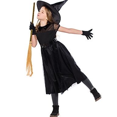 Bruxa Ocasiões Especiais Para Meninas Tema Fadas Dia Das Bruxas Espetáculo Fantasias de Cosplay Festa temática Fantasias Para Meninas Fantasia de Dança Tule Tule